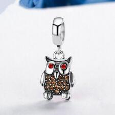NEW lovely Owl Silver CZ European Charm Beads Fit 925 Pendant Necklace Bracelet