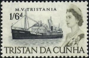 Tristan Da Cunha 1965 QEII  1/6d Black & Yellow-Olive  SG.81  Mint (Hinged)