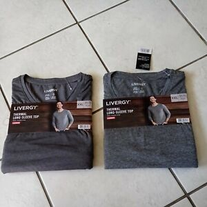 2 Livergy Thermal Long Sleeve Tops grey size XXL
