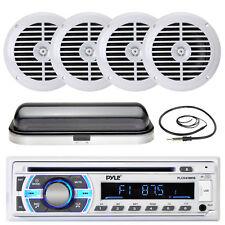 "6.5"" Marine 120W White Speakers, Pyle USB Bluetooth Radio, Radio Cover, Antenna"