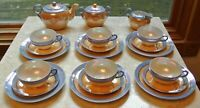 Vtge Takito Tea Set for Six  Blue and Peach Lusterware Made in Japan