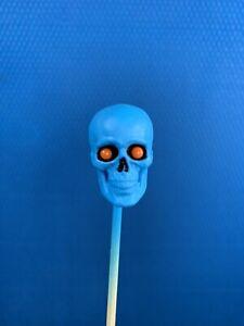 mezco one:12 Head Skull- Custom, Blue w/ Orange eyes