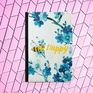 Bee Happy Positive PU Leather Passport Holder Wallet Travel Holiday Cover Case