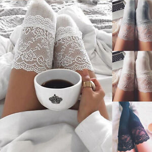 UK Womens Ladies Over Knee Thigh High Lace Trim Sexy Cotton Long Socks Stocking