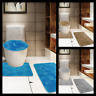 NEW 3PC CARVED STONE SET BATHROOM BATH RUG CONTOUR MAT TOILET LID COVER SOLID
