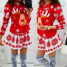 Fashion Womens Christmas Snowflake Elk Print Xmas Long Sleeve Mini Dress