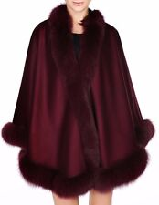 Burgundy Cashmere Cape Wrap Shawl with Fox Fur Trim New