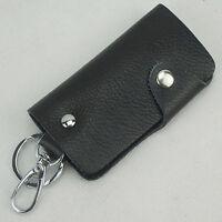 Unisex Men leather Car Key Case bag Holder keychain Black small simple design