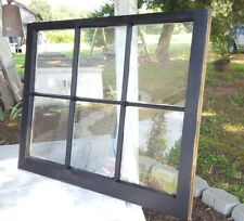 VINTAGE SASH ANTIQUE WOOD WINDOW PICTURE FRAME PINTEREST 36x28 BLACK 6 PANE