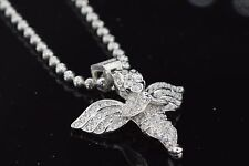 Mens Silver 14k White Gold Finish Lab Diamond Baby Angel Pendant with Chain