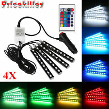 9LED Remote Control Colorful RGB Car Interior Floor Atmosphere Light Strip 4x @