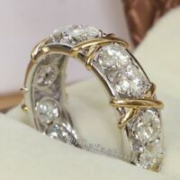 Women Eternity Band Diamonique Cz White&Yellow Gold Filled Wedding Ring Siz 5-10