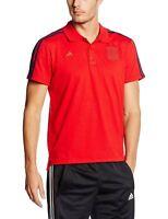 adidas SPAIN 3 STRIPE POLO SHIRT MEN'S RED NATIONAL FOOTBALL SOCCER XS S M XL