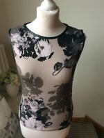MARCCAIN Black Grey Beige Floral Leatherette Sleeveless Top T-shirt Size N4 10