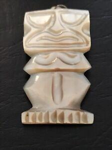 Vintage Tahiti Carved Shell TIKI Pendant