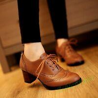 Vintage Ladies Brogues Lace Up Wingtip Women Oxfords Classic Block Heels Shoes