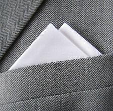SUPERNOVA White Ivory Silk 2 Point Carded Pocket Handkerchief Wedding Suit