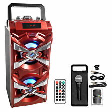 NYC Acoustics X-Tower Bluetooth Karaoke Machine System w/LED's+Microphone+Remote