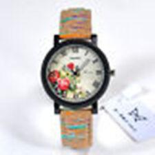 Womens Retro Retro Leather Wrist Watch Flower Pattern Wood Grain Watch NEW