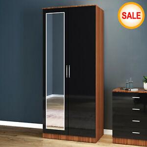 2 Door Double Wardrobe Storage With Mirrore Black Walnut Furniture Cupboard