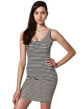 American Apparel Cotton Spandex Jersey Scoop Back Tank Dress Natural-Black Strp