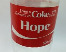 Share a Coke With Hope Coca Cola Exclusive Canadian Name empty bottle