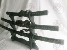 Quality Samurai 3 set Sword Black TC /w Stand