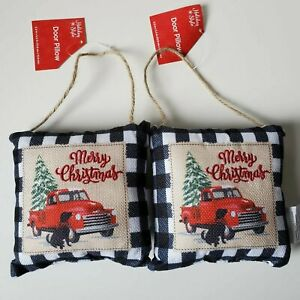 """2 Door Pillows Ornaments Red Pickup Truck Buffalo Plaid Check """"Merry Christmas"""""""
