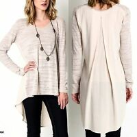 Umgee Top Size XL S M L Natural Long Sleeve Tunic Free Boho People Womens New