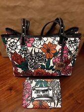 Nine West Shoulder Bag Purse & Wristlet LTD EDITION Multicolor Floral Print NWOT
