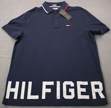 Tommy Hilfiger Denim HUGE Logo Mens Blue Custom Fit Polo Shirt Size Large