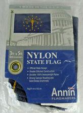 New listing Annin Indiana State Flag 3' x 5' w/ Brass Grommets Nyl-Glo Heavyweight Nylon