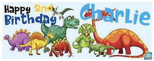 Dinosaur Birthday Banner - PERSONALISED - Any name & age - Fast Delivery