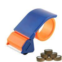 "1 Parcel Tape Gun Dispenser Cutter Orange48mm 2"" + 6 Brown Tape Rolls 48mm x 66m"