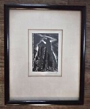 Seasons greetings 1947 Friedlawic matted mounted framed vintage old antique
