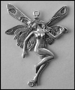 PEWTER CHARM #417 FAIRY (42mm x 60mm) 2 BAILS joiner for suncatcher, jewellery