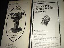 Lightning Bottle Wirer Beer Bottle Cap Ad 1907 Brewery Equipment Cork Prepro