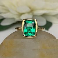 2Ct Cushion Cut Green Emerald Solitaire Engagement Ring 14K Yellow Gold Finish