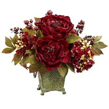 Nearly Natural 4928 - Peony & Hydrangea Silk Flower Arrangement - Red