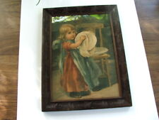 "Antique Framed VICTORIAN LITHOGRAPH Print, Little Girl Helping Mom ""I'm So Busy"""