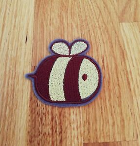 Kawaii cute bee embroidered iron on patch 65mm wide