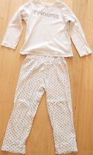 Mothercare cream 100% cotton long-sleeved Princess pyjamas, age 4-5 years