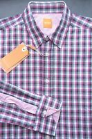 SALE HUGO BOSS ORANGE MEN'S PLAIDS COTTON CASUAL SHIRT 2XL