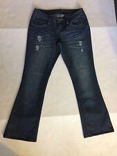 ZCO Distressed Boot Cut Jeans Size 7 Inseam 27; Dark Wash; Rhinestone Decor