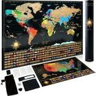 Scratch Off World Map Poster Deluxe US Map Includes Complete Accessories