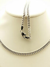 18k Solid White Gold Italian Flat Curb Necklace/ Chain 7.81 Grams