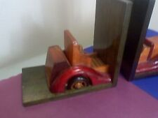 """BOOKENDS CLASSIC CARWOODEN  1920'S MOTIF 6 X 6 1/2""""  CLEAN NO DAMAGE"""