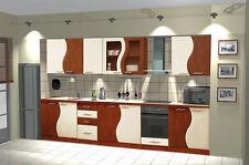 Küchenzeile DONAU 260cm Küchenblock Küche BIRNE-VANILIE Einbauküche ERWEITERBA