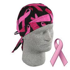 Breast Cancer Awareness Black Pink Ribbons Doo Rag Headwrap Durag Biker Walk