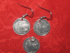 ETHIOPIA AFRICA  AFRICAN LION SILVER TONE COIN  PENDANT DANGLE EARRINGS SET